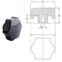 Ручка звездочка карболит M8, D40mm