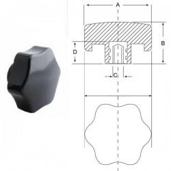 Ручка зірочка карболіт M8, D40mm